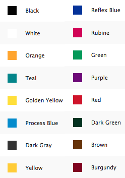 ink printing color palette