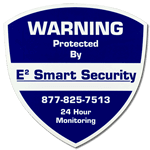 Blue shield shaped security sign