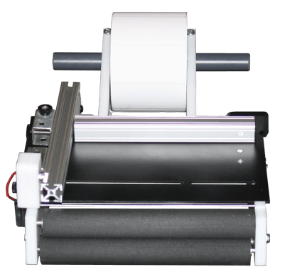 "Semi-automatic precision label applicator for tabletop use. Runs on two AA batteries. Fits rolls with a 1"" to 3"" core up to 12"" in diameter and 10"" in width."