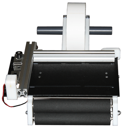 "Semi-automatic precision label applicator for tabletop use. Runs on two AA batteries. Fits rolls with a 1"" to 3"" core up to 10 1/2"" in diameter and 8"" in width."