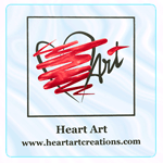 Metallic red foil and black on clear polyester square Heart Art foil label