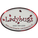 Metallic red foil and black on white gloss paper oval Ladybugs foil label