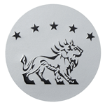 Black on white gloss paper circle lion and stars foil label