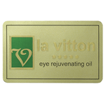 Green and metallic gold foil on dull gold rectangle la vitton foil label