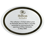 Bright gold foil on white gloss paper oval Hilton Barbados foil label