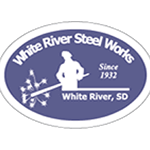 Blue worker on white vinyl oval White River Steel Works hard hat decal