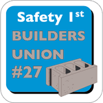 Light blue and gray cement block on white vinyl square Builders Union 27 hard hat decal