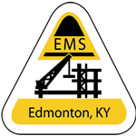 Black and yellow on white vinyl triangle EMS hard hat decal