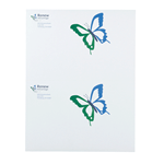 Blue and green butterfly on white Renew Advantage rectangle 2 per sheet customer laser inkjet labels
