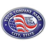 Red and blue flag on silver oval sample Made In USA Sticker