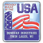 Red and blue flag on silver square Donovan Industries Made In USA Sticker