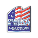Red and blue flag on custom shape Eagle Products Made In USA Sticker