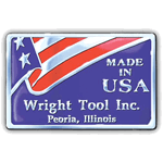 Red and blue flag on silver rectangle Wright Tool Inc Made In USA Sticker