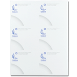 Blue leaf logo and gray text on white Terran custom laser sheet mailing & shipping label sample