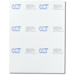 Blue and black logo on white CCT custom laser sheet mailing & shipping label sample