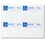 Blue and gray logo on white Smith & Co. custom laser sheet mailing & shipping label sample