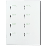 Black book and plant logo and greent text on white The Story Plant custom laser sheet mailing & shipping label sample