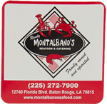 Red and black seafood logo on white square Montalban's Seafood and Catering custom roll label sample