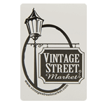 Black vintage street sign and lamp post on white rectangle Vintage Street Market custom roll label sample