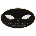 Black ink mask graphic on white gloss oval The Eve Ball custom roll label sample