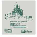 Muted teal castle and library logos on white square The StoryBook Festival 2010 custom roll label sample