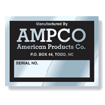 Black on Aluminum Square AMPCO Rating Plate