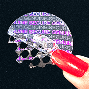 Holographic-residue security labels