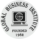 Black Computer Logo on White Circle Global Business Institute Equipment Label