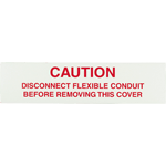 Red Text on White Rectangle Caution Warning Industrial Label