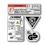 Multi spot color on white gloss polyester custom smartdriver four UL label kit sample