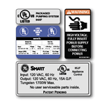 Multi spot color on white gloss polyester custom GE Smart four UL label kit sample