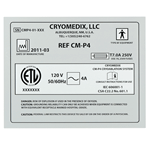 Black ink matte silver polyester rectangle Cryomedix UL label sample