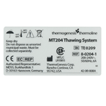 Black ink on clear Lexan rectangle thermogenesis thermoline thawing system UL label sample