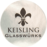Black on silver paper circle Keisling Glasswurks cheap label