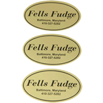 Black on gold paper oval Fells Fudge cheap label