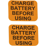 Orange and black on white paper square Charge Battery Before Using cheap label