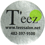 Black and green on silver metallic paper circle T'eez cheap label