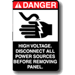 Danger label featuring electric shock pictogram and warning text