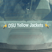 Two yellow and black bees on clear rectangle DSU Yellow Jackets custom window decal on back car window
