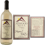 Red hill and yellow sun graphic with silver foil Atwood Hill Winery custom wine label sample on wine bottle