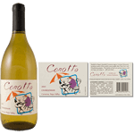 Multi spot-color sheep sitting at a bistro table on eggshell Corotto custom wine label on wine bottle