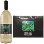 Multi spot color field and trees graphic on black and silver foil Sunny Fields custom wine label on wine bottle