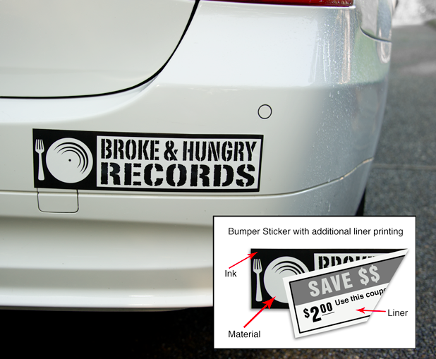Image of car bumper with a bumper sticker along with example of the same bumper stick