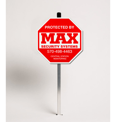 Home security yard sign in red