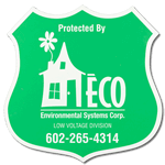 Green badge shaped home security label