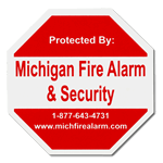 Red octagon shaped fire alarm security label