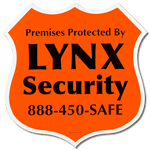Orange badge shaped security label
