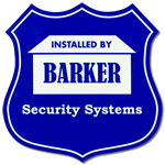 Blue badge shaped home security sign