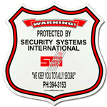 Red bordered badge shaped security sign