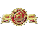 Red and gold foil anniversary seal label